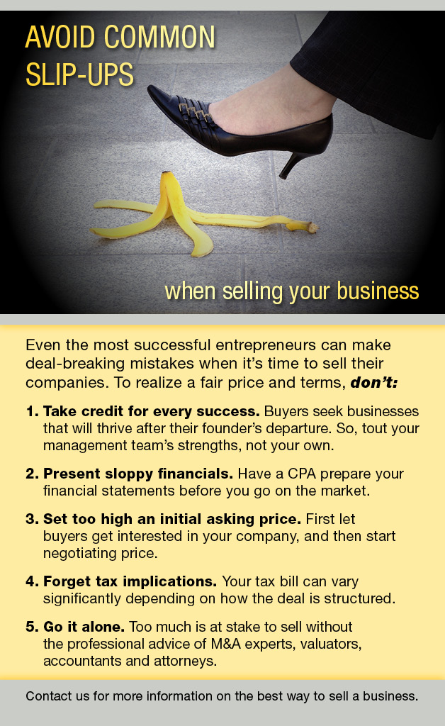 Selling a business infographic